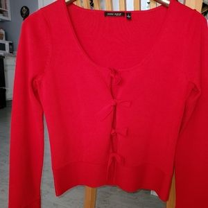 Anne Klein red holiday cardigan mint condition